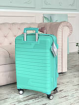 Маленький пластиковый чемодан из полипропилена для ручной клади мятный Франция, фото 3