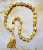 Четки 33 бусины 100% натуральный янтарь полированный (не пресс не плавка) вес 67г