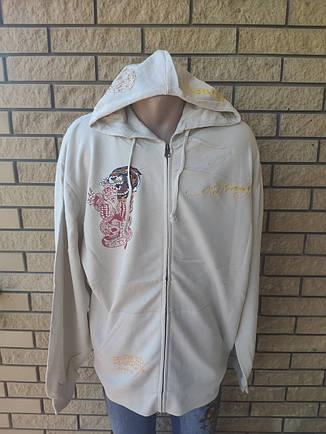 Кофта на молнии с капюшоном, толстовка, худи , большие размеры унисекс дизайнерская брендовая ED HARDY, фото 2
