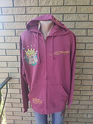 Кофта на молнии с капюшоном, толстовка, худи , большие размеры унисекс дизайнерская брендовая ED HARDY