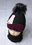М 94028. Комплект зимний для девочки  шапка с помпоном и снуд , разные цвета, фото 3