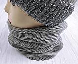 М 94028. Комплект зимний для девочки  шапка с помпоном и снуд , разные цвета, фото 7