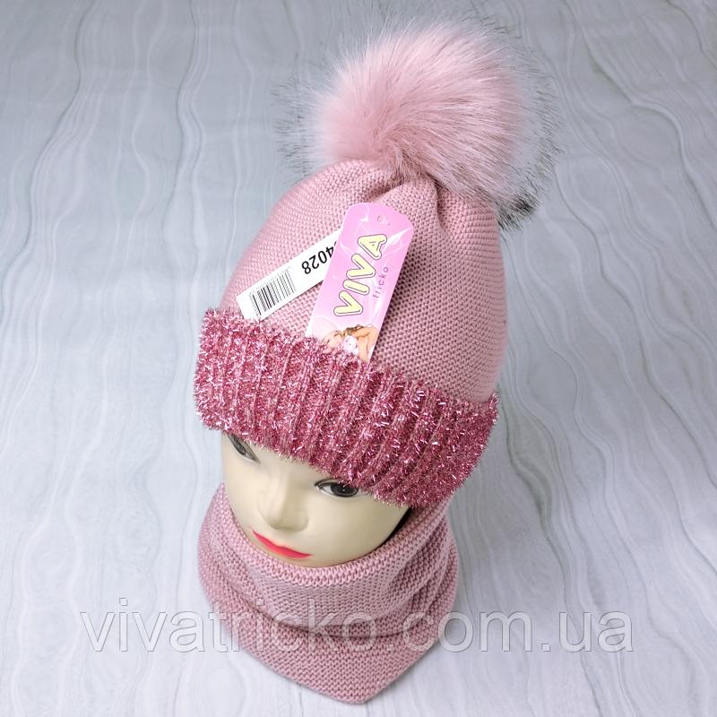 М 94028. Комплект зимний для девочки  шапка с помпоном и снуд , разные цвета