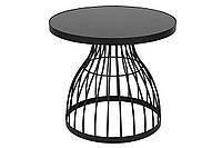 Столик металлический Тесо со столешницей из закалённого стекла, 49см, цвет - чёрный (TY1-200)
