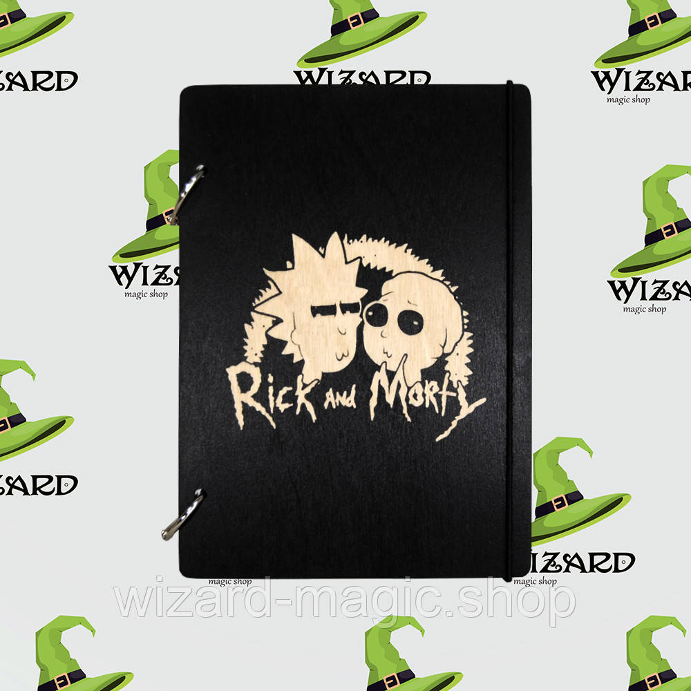 Деревянный блокнот А6 Rick and Morty (черное дерево)