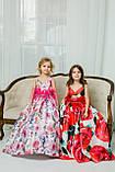 """Модель """"ЕЛІЗАБЕТ"""" - довга атласна сукня зі шлейфом / атласное платья с принтом, фото 2"""
