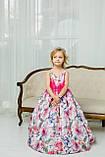 """Модель """"ЕЛІЗАБЕТ"""" - довга атласна сукня зі шлейфом / атласное платья с принтом, фото 4"""