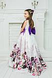 """Модель """"ЕЛІЗАБЕТ"""" - довга атласна сукня зі шлейфом / атласное платья с принтом, фото 5"""