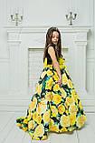 """Модель """"ЕЛІЗАБЕТ"""" - довга атласна сукня зі шлейфом / атласное платья с принтом, фото 6"""