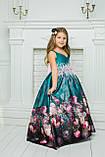 """Модель """"ЕЛІЗАБЕТ"""" - довга атласна сукня зі шлейфом / атласное платья с принтом, фото 7"""