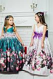"""Модель """"ЕЛІЗАБЕТ"""" - довга атласна сукня зі шлейфом / атласное платья с принтом, фото 8"""