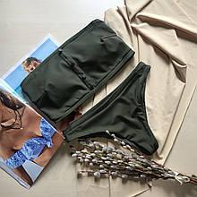 Купальник роздільний Пенні ліф бандо колір хакі розмір S УКРАЇНА