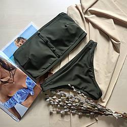 Купальник раздельный Пенни лиф бандо цвет хаки размер S УКРАИНА