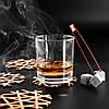 Камни для виски подарочный деревянный набор с бокалами. Кубики для охлаждения виски, фото 2