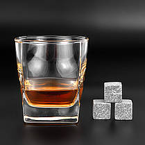 Камни для виски подарочный деревянный набор с бокалами. Кубики для охлаждения виски, фото 3