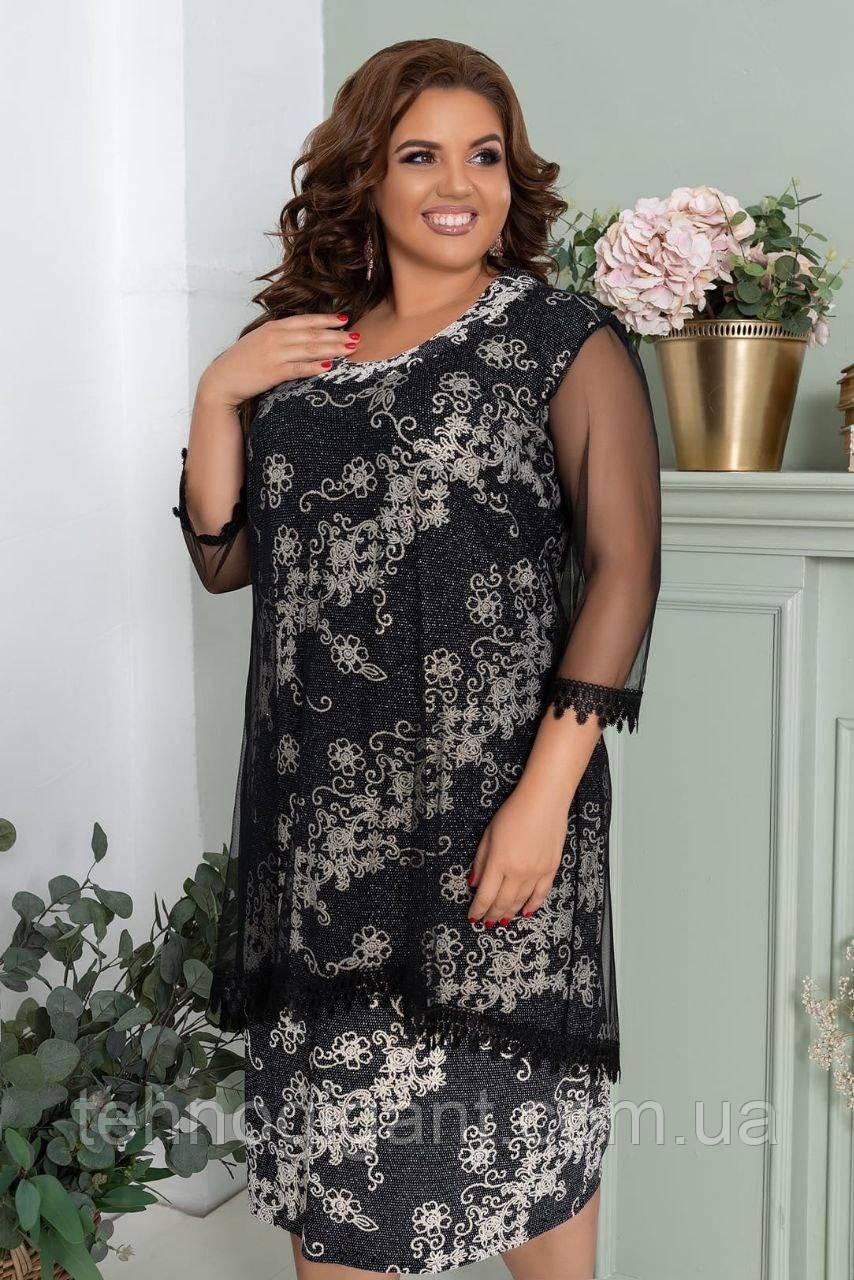 Нарядное женское летнее платье люрекс с сеткой, большого размера 52, 54, 56, 58 цвет Серый