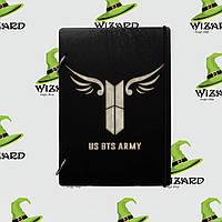 Деревянный блокнот А6 BTS army kpop (черное дерево)