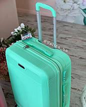 Мятный пластиковый чемодан ручная кладь с фурнитурой в цвет, фото 2