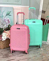 Мятный пластиковый чемодан ручная кладь с фурнитурой в цвет, фото 3