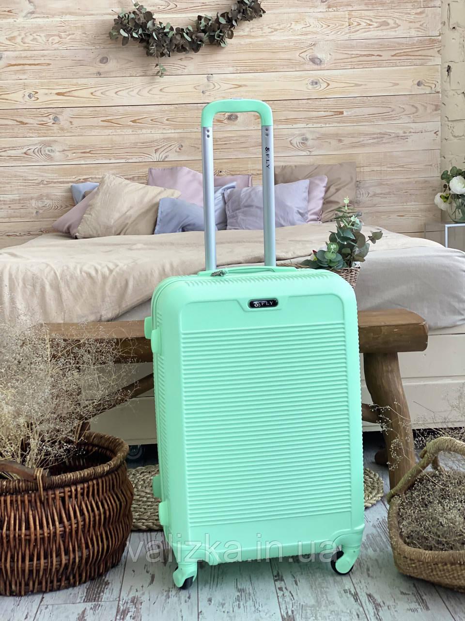 Мятный пластиковый чемодан ручная кладь с фурнитурой в цвет