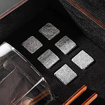 Камни для виски подарочный деревянный набор с бокалами. Кубики для охлаждения виски Темная коробка + 2 шт Бокала Bohemia Barline 300 мл, фото 3