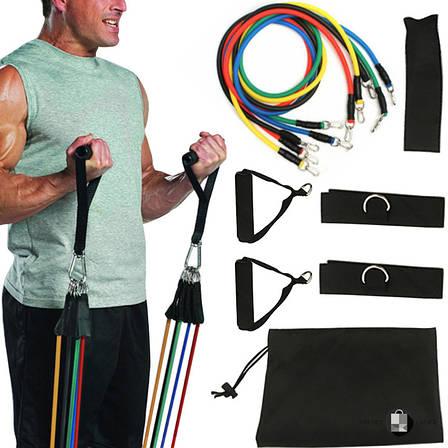 Набор трубчатых эспандеров для фитнеса и упражнений 5 жгутов + Чехол, фото 2