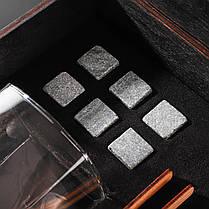 Камни для виски подарочный деревянный набор с бокалами. Кубики для охлаждения виски Темная коробка + 2 шт Бокала Bohemia Quadro 340 мл, фото 2