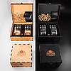 Камни для виски подарочный деревянный набор с бокалами. Кубики для охлаждения виски Темная коробка + 2 шт Бокала Bohemia Quadro 340 мл, фото 5