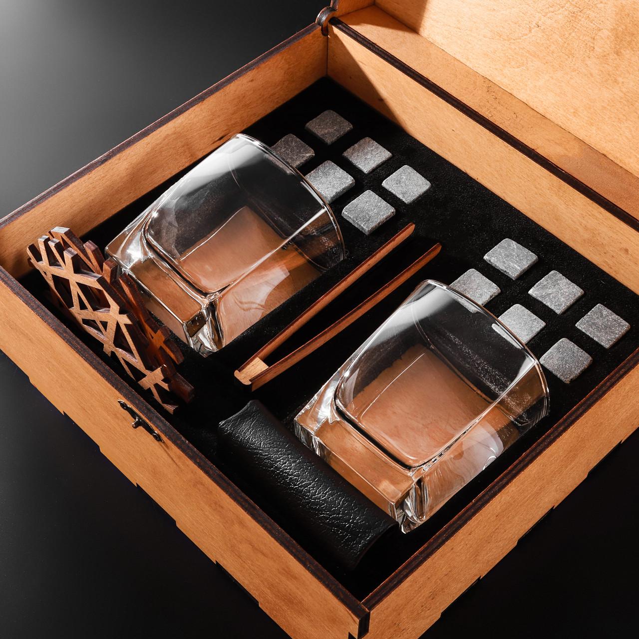 Камни для виски подарочный деревянный набор с бокалами. Кубики для охлаждения виски Светлая коробка + 2 шт Бокала Sterling 300 мл