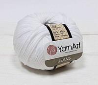 Пряжа Jeans 50гр - 160м (01 Белый) YarnArt 55 % хлопок, 45 % полиакрил, Турция