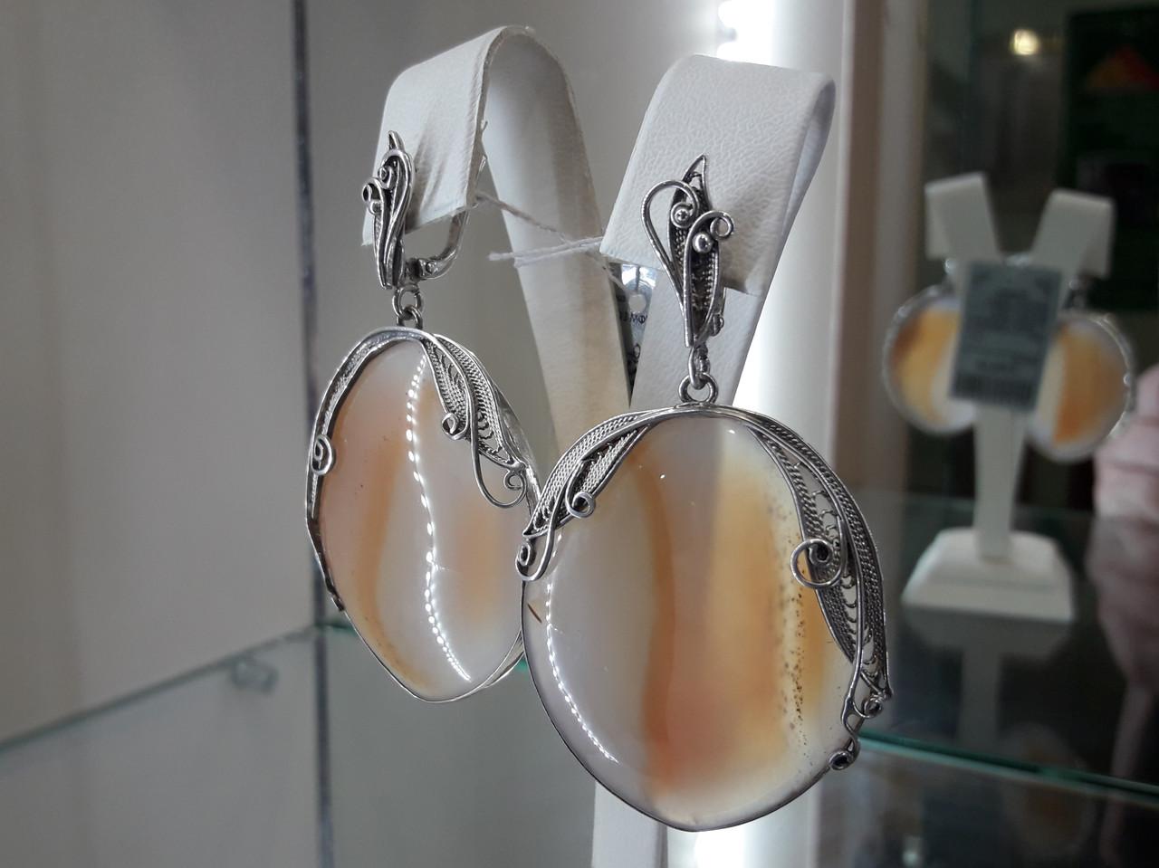 Серебряные серьги с агатом круглые