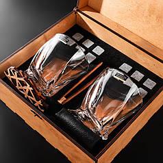 Камни для виски подарочный деревянный набор с бокалами. Кубики для охлаждения виски Светлая коробка + 2 шт Бокала Bohemia Quadro 340 мл