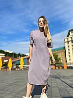 Платье-футболка женское свободного кроя повседневное  в длинне миди хлопковое one size серое графитовое