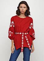 Красная Женская Вышиванка с поясом, украинская вышитая рубашка