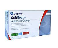 Перчатки смотровые нитриловые текстурированные без пудры нестерильные 5 г (100 шт/уп) Orange Medicom (L), фото 1