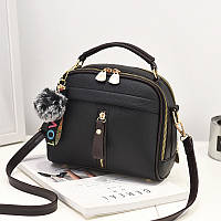 Женская сумка кросс-боди из экокожи. Сумка на плечо среднего размера. Ручная сумка кожзам черная СС-4554-10