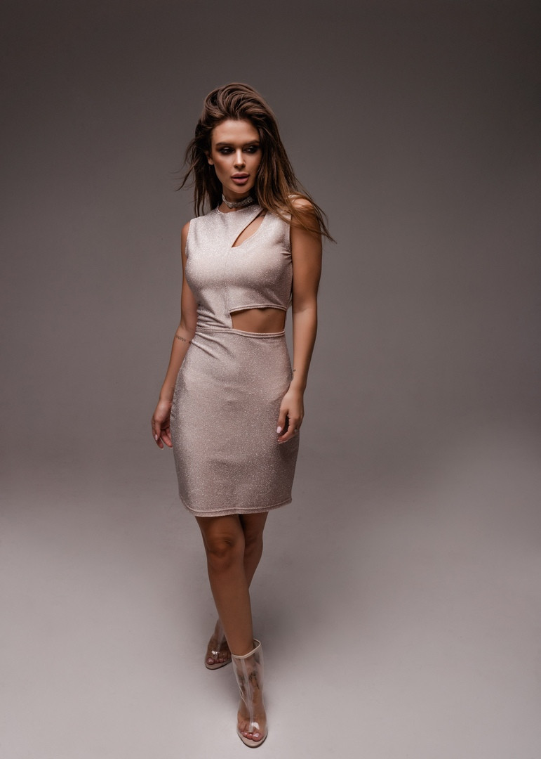 """Облегающее нарядное мини-платье """"Belly"""" с люрексом и вырезами (5 цветов)"""
