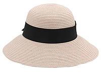 Женская летняя пляжная шляпа канотье от солнца цвета пудра, с бантом черного цвета, фото 1