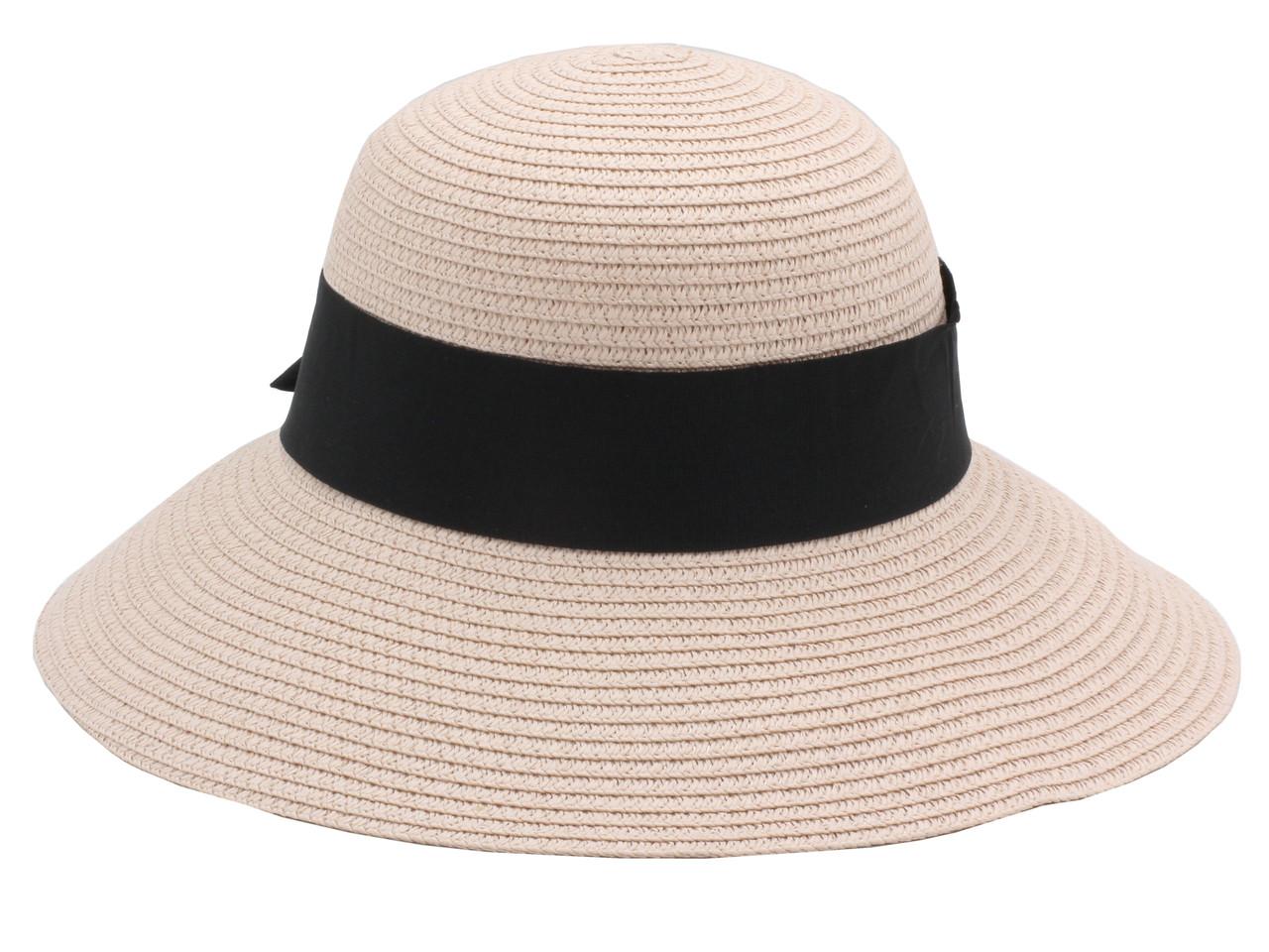 Женская летняя пляжная шляпа канотье от солнца цвета пудра, с бантом черного цвета