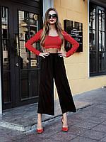 Жіночі брюки кюлоти штани шовк Армані чорні S M L XL женские штаны кюлоты шелк черные 42 44 46 48