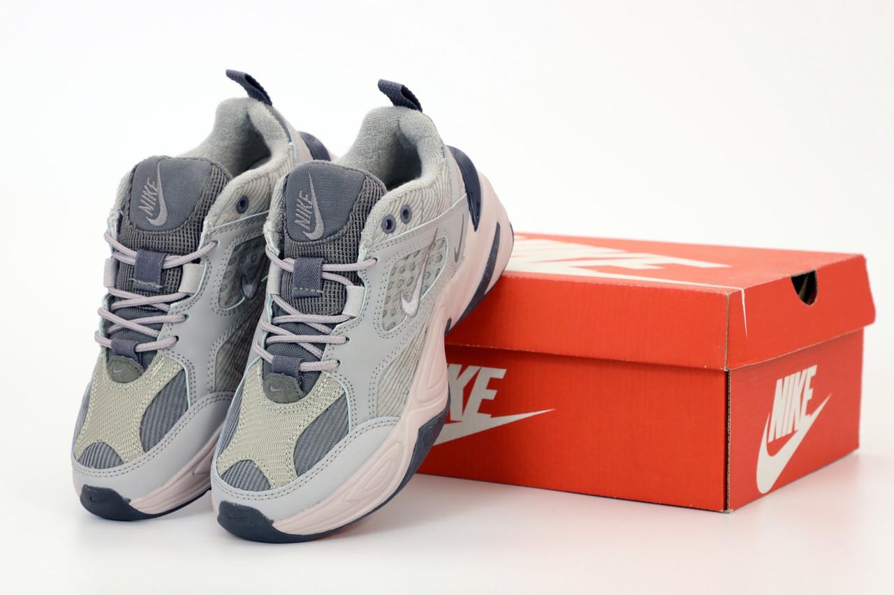 Женские кроссовки Nike Tekno M2K в стиле найк текно СЕРЫЕ (Реплика ААА+)