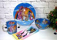 Набор посуды для детей «Единорог и радуга» 5-ти предметный.