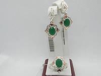 """Ювелирные изделия из серебра с золотом""""Андромеда"""" (хризопраз)"""