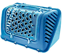 Переноска пластиковая ФЕШИОН P-BAG FASHION для кошек и собак весом до 10 кг, 44,5 * 26,5 * 28 см, голубая