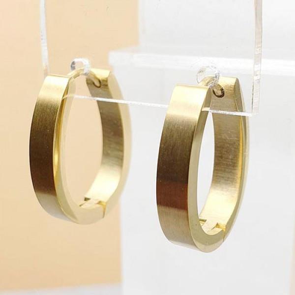 Красивые овальные серьги из медицинской стали с покрытием под золото матовые 4 мм 176080