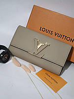 Жіночий клатч Louis Vuitton, з натуральної шкіри / Гаманець Луї Вюіттон бежевий
