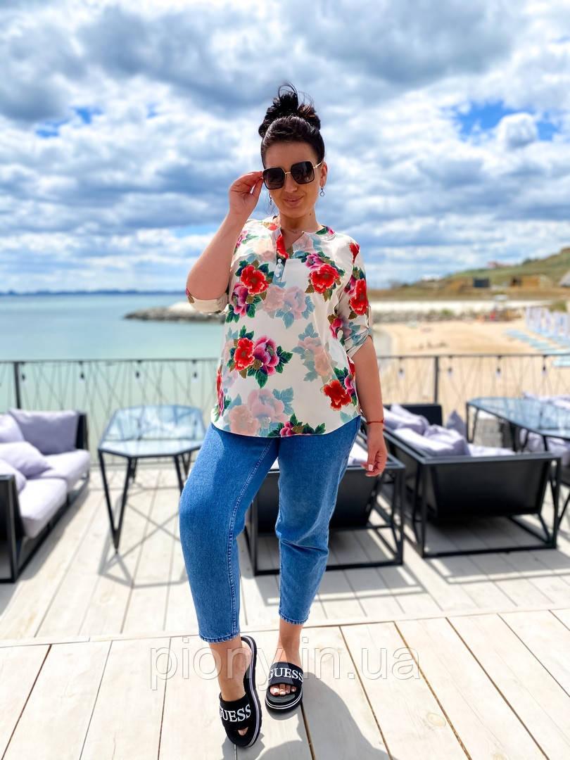 Женская Блузка с цветочным принтом Батал