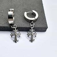 Круглые серьги в уши с подвесным крестом унисекс 176083