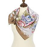 Нежное эхо 1601-16, павлопосадский платок шелковый (крепдешиновый) с подрубкой, фото 2