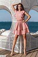 Очень красивое летнее женское платье с резинкой на поясе и расклешенной юбкой арт 5164